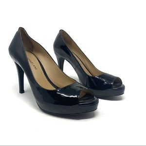 Antonio Melani Black Patent Leather Peep Toe Heel